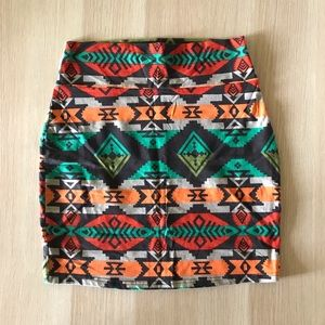 Tribal print cotton mini skirt